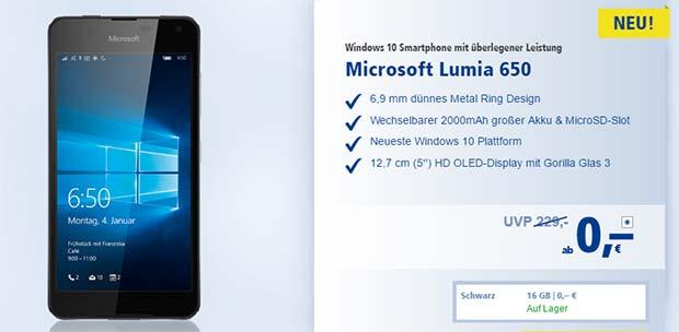 1&1 - Microsoft Lumia 650 Aktion
