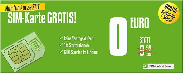 gratis sim karte mit guthaben FYVE: kostenlose SIM Karte mit Guthaben bis Mitte Mai
