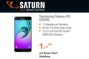 Samsung Galaxy A5 (2016-Version) für 1 Euro mit Wenignutzer-Tarif für 14,99 Euro im Monat