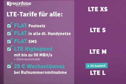 Yourfone - Neue Tarife