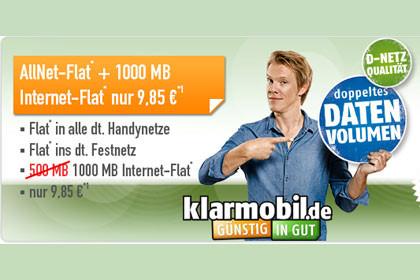 Klarmobil AallNet-Flat + 1000 Mb Internet-Flat - 9,85
