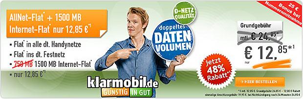 Klarmobil AallNet-Flat + 1500 Mb Internet-Flat - 12,85