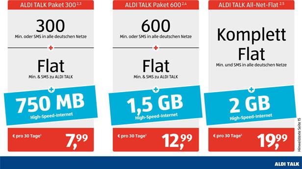 Aldi-Talk 300, 600, Komplett-Flat