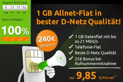 Crash-Tarife 1 GB Allnet-Flat - 9,85 Euro