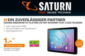 Saturn-Deal: Huawei MediaPad T2 10.0 Pro LTE für 1 Euro mit 3 GB für 9,99 Euro