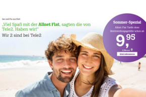 Tele2 Sommer-Spezial: Fünf Allnet-Flat-Tarife zum Sparpreis