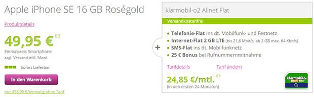 gethandy - o2 Allnet-Flat + iPhone SE 16 Gb