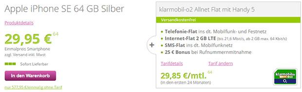gethandy - o2 Allnet-Flat + iPhone SE 64 Gb