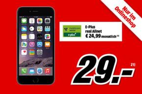 Media Markt Online Shop: Apple iPhone 6 Plus mit LTE-Tarif für einmalig nur 29 Euro