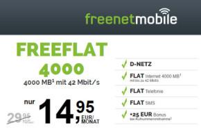 Freenetmobile: Mehr Volumen zum gleichen Preis – 3GB statt 4GB bei freeFlat