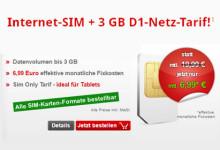 internetSIM 3 GB D1 Netz 6,99