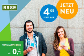 BASE Young: Telefonie-Flat und 4 GB LTE-Volumen für nur 14,99 Euro im Monat