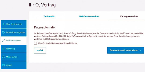 o2 - Datenautomatik online deaktivieren