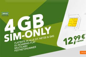 Sprach- und SMS-Flat mit 4 GB LTE-Volumen und mehr für nur 12,99 Euro