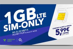 Allnet-Flat mit 1 GB LTE-Volumen im o2-Netz für nur 5,99 Euro