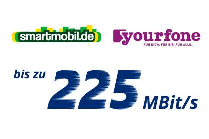 smartmobil und yourfone mit bis zu 225 Mbit/s
