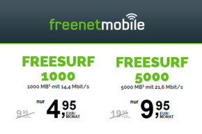 Die neuen freenetMobile freeSURF Flats für mobiles Surfen