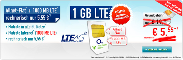 handybude - Allnet-Flat 1000 MB LTE 5,55 Aktion