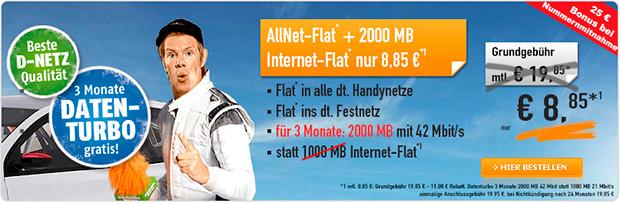 handybude - Klarmobil  Allnet-Flat 2000 Daten-Turbo 8,85 Euro Aktion
