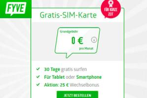 FYVE verschenkt Gratis SIM mit einem Monat gratis Surfen in der EU