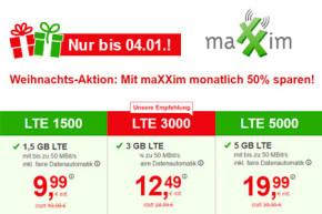 Weihnachts-Deal bei maXXim: Alle Smartphone Tarife dauerhaft zum halben Preis