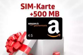 Der Handyhase Bonus Deal: 3 Kostenlose SIM Karten mit 1,5 GB Volumen und 15 Euro Amazon Gutschein für 7,50 Euro