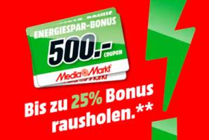 Media Markt Energiewende Deal – Bis zu 500 Euro Cashback als Coupon bei Media Markt