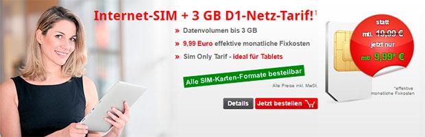 Internet SIM 3 GB D1 Netz