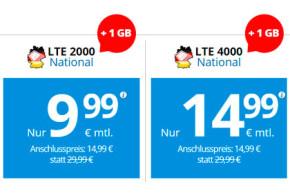 DeutschlandSIM LTE 2000 National und LTE 4000 National mit zusätzlichem Volumen