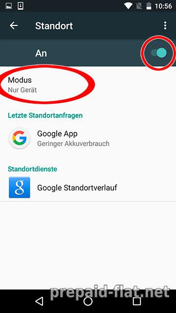 Google - Einstellungen - Standort An