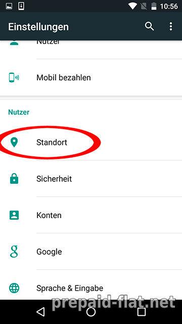 Google Einstellungen - Standort