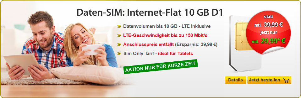 DatenSIM - Internet-Flat 10 GB
