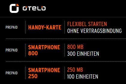 otelo - Prepaid Tarife Datenvolumen