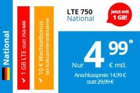 Deal – DeutschlandSIM LTE Flatrate mit 1 GB für unter 5 Euro
