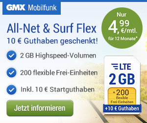 GMX - All-Net & Surf 2 GB + Aktion: 1 Freimonat