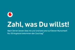 Neue Aktion bei Vodafone: Vodafone Tarif Auktion – Zahl was du willst