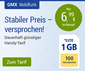 GMX - All-Net LTE 1 GB  für 6,99 Euro