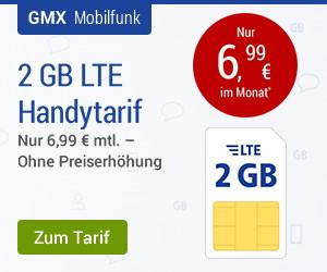 GMX - All-Net LTE 2 GB  für 6,99 Euro