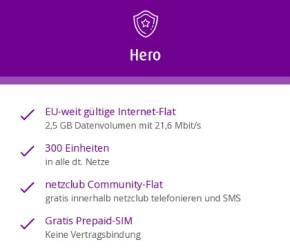 Hero – ein neuer Prepaid-Tarif bei Netzclub